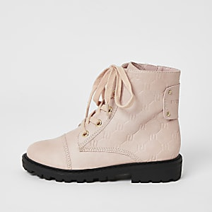 Girls pink RI monogram lace-up boots