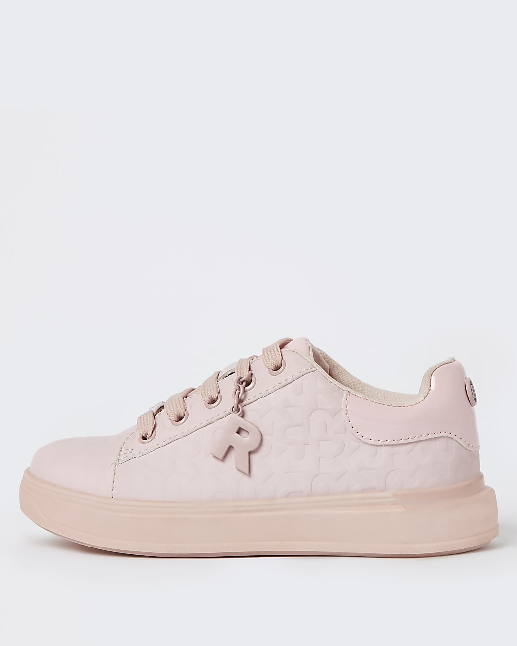 Girls pink RI monogram lace up trainers