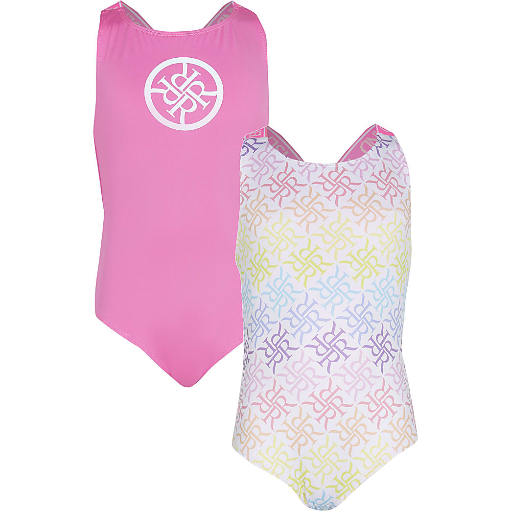 Girls pink RI monogram print swimsuits 2 pack