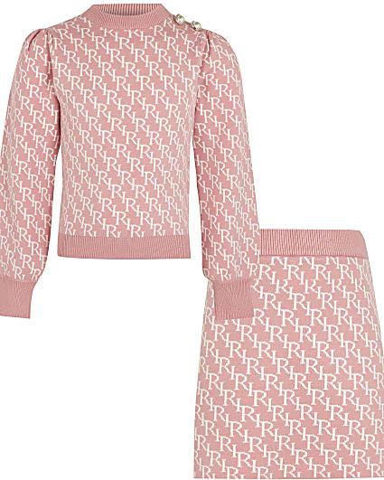 Girls pink RI monogram skirt outfit