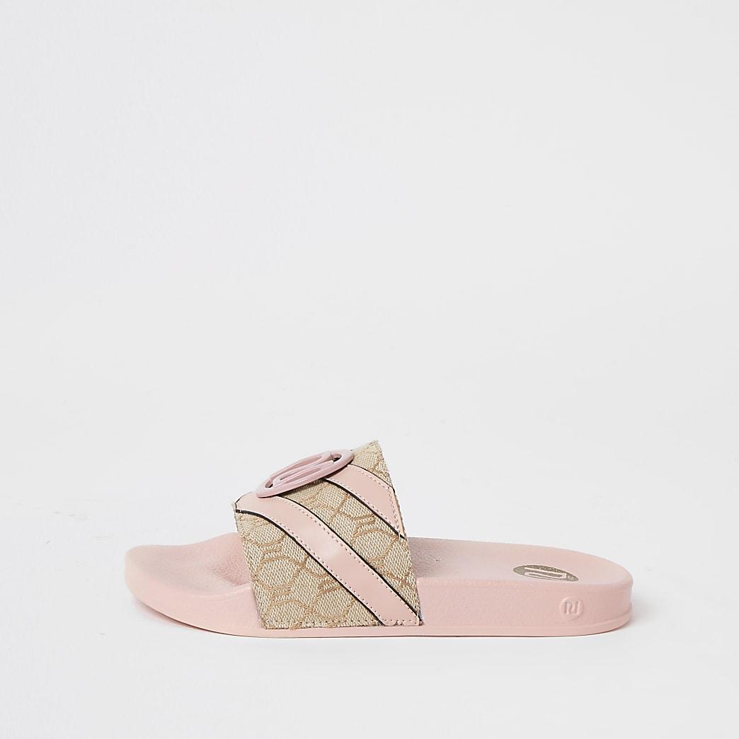 Roze gestreepte slippers met RI-monogram voor meisjes