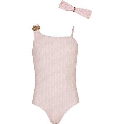 Girls pink RI monogram swimsuit with headband