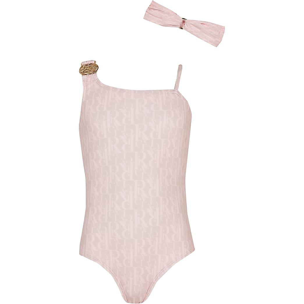 Girls pink RI monogram swimsuit with headband