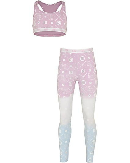 Girls pink RI ombre crop top and leggings set