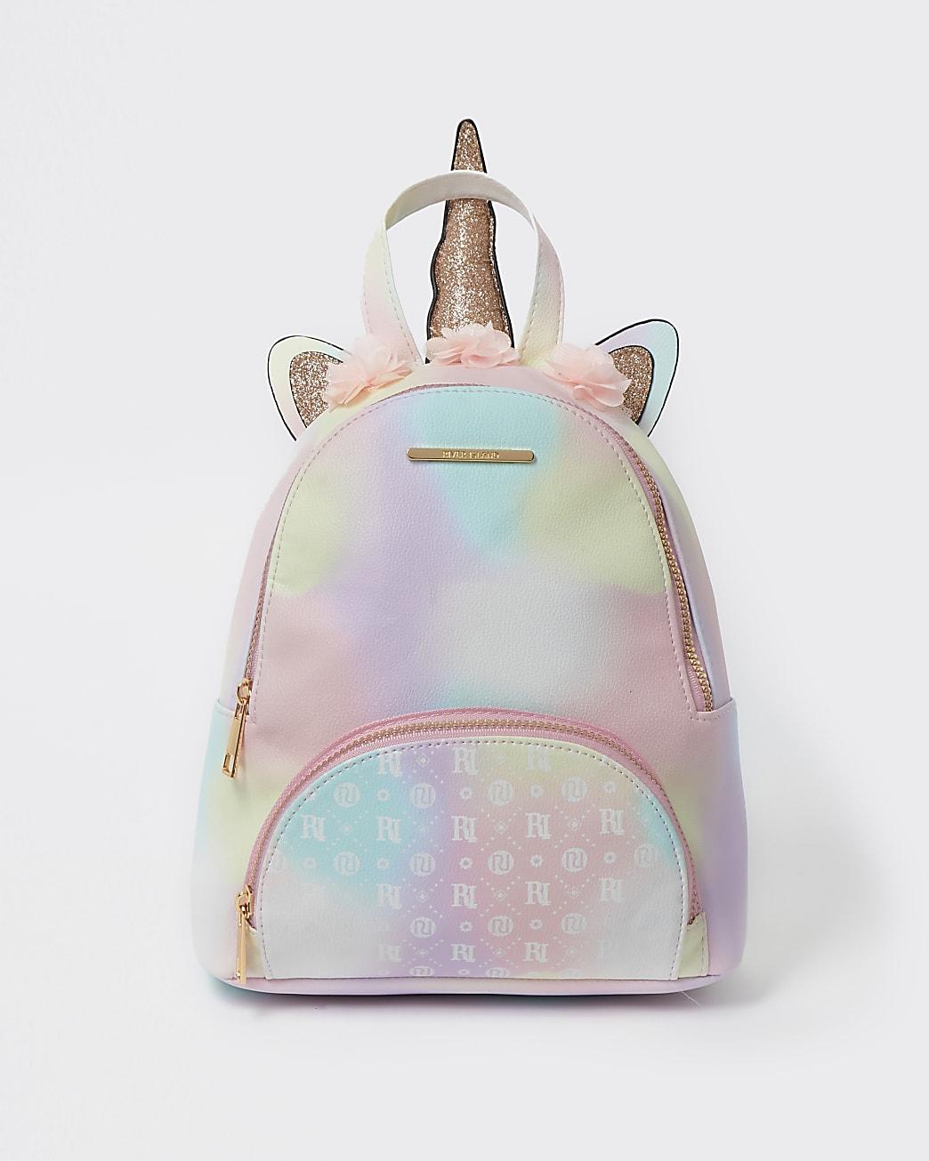 Girls pink RI ombre unicorn backpack