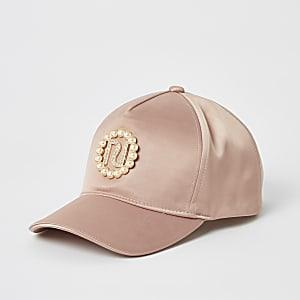 Perlenverzierte Kappe in Rosa mit RI-Logo für Mädchen