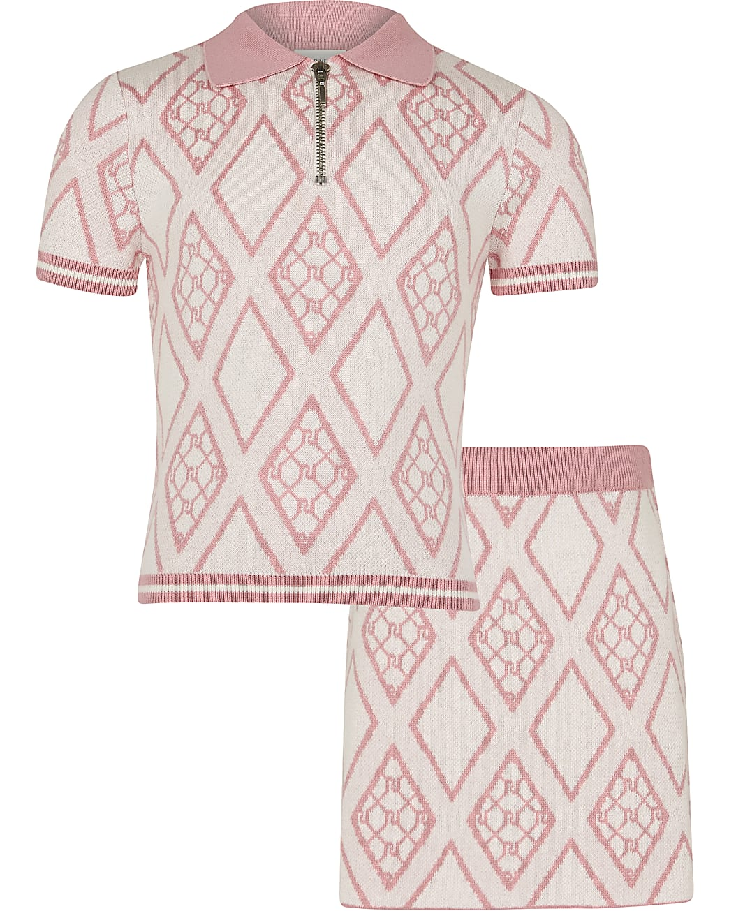 Girls pink RI polo top and skirt outfit