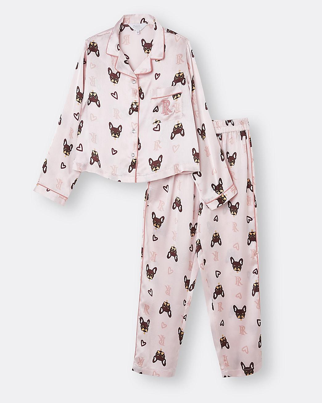 Girls pink RI print satin pyjamas set