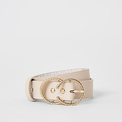 Girls pink RI printed double buckle belt