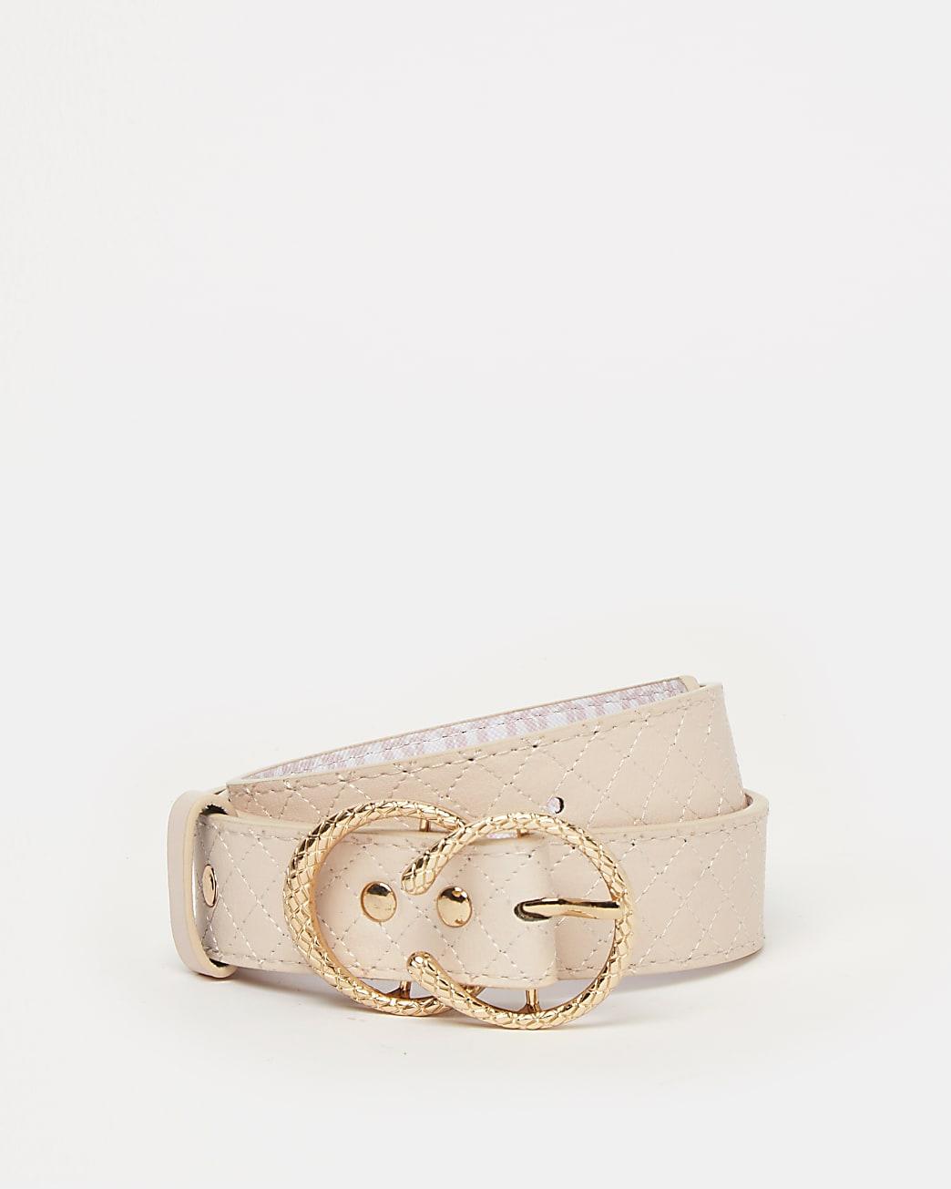 Girls pink RI quilted belt