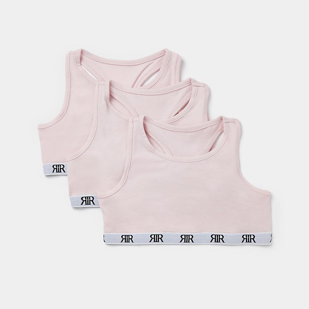 Girls pink RI racer crop tops 3 pack
