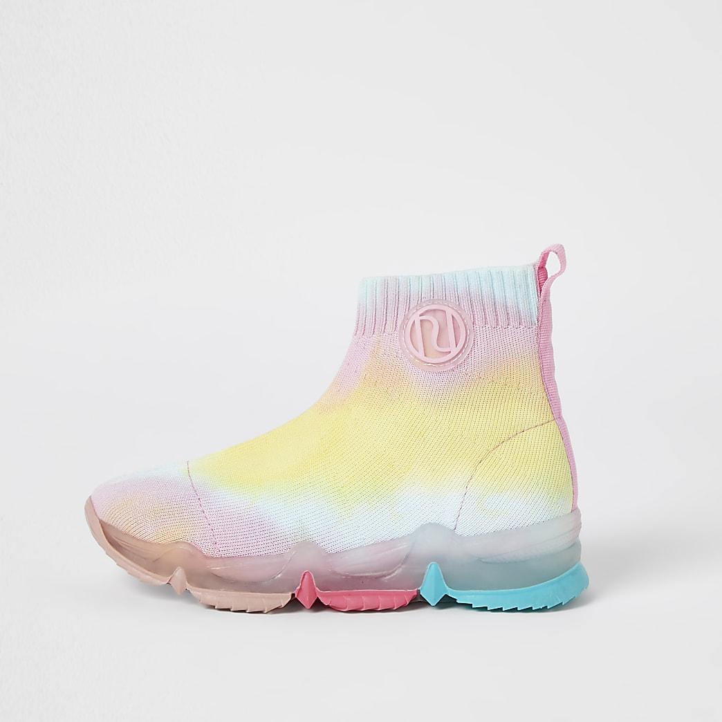 Girls pink RI rainbow high top trainers