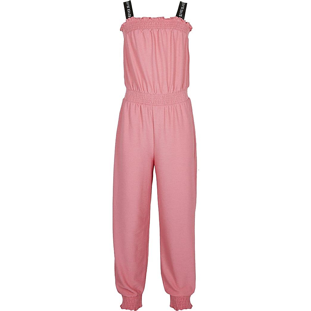 Girls pink RI shirred waist jumpsuit