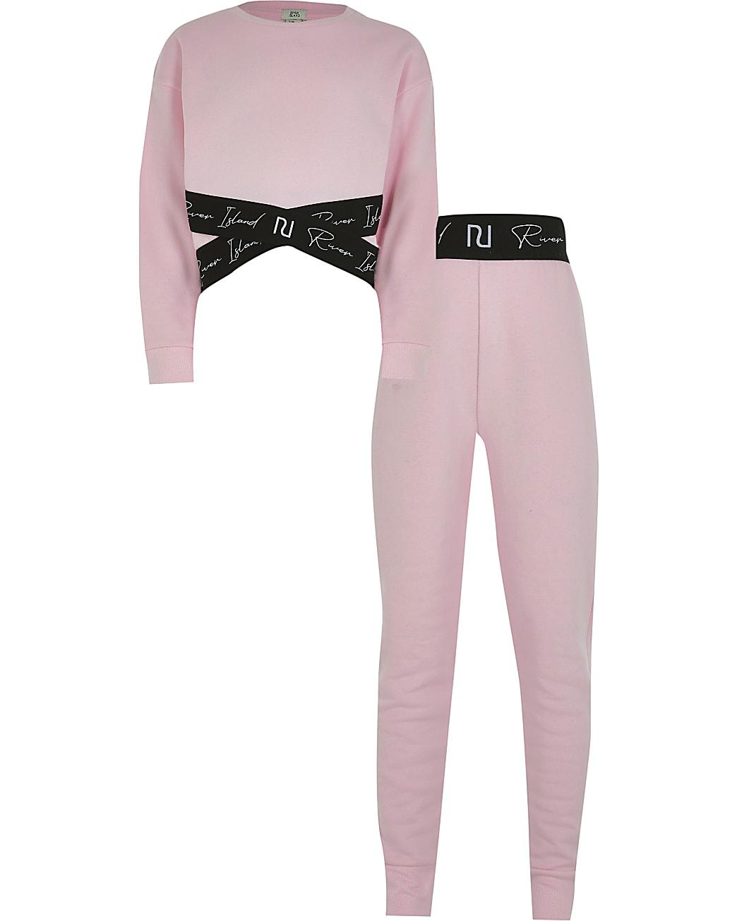 Girls pink RI sweatshirt and legging outfit