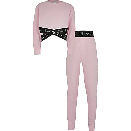 Girls pink RI sweatshirt and legging outfit