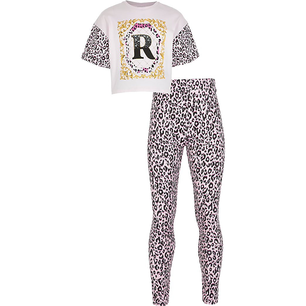 Girls pink RI t-shirt and leggings outfit