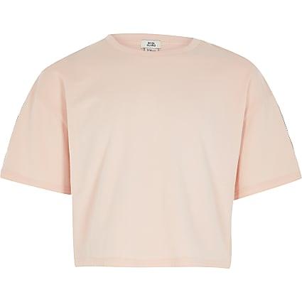 Girls pink RI taping short sleeve crop tee