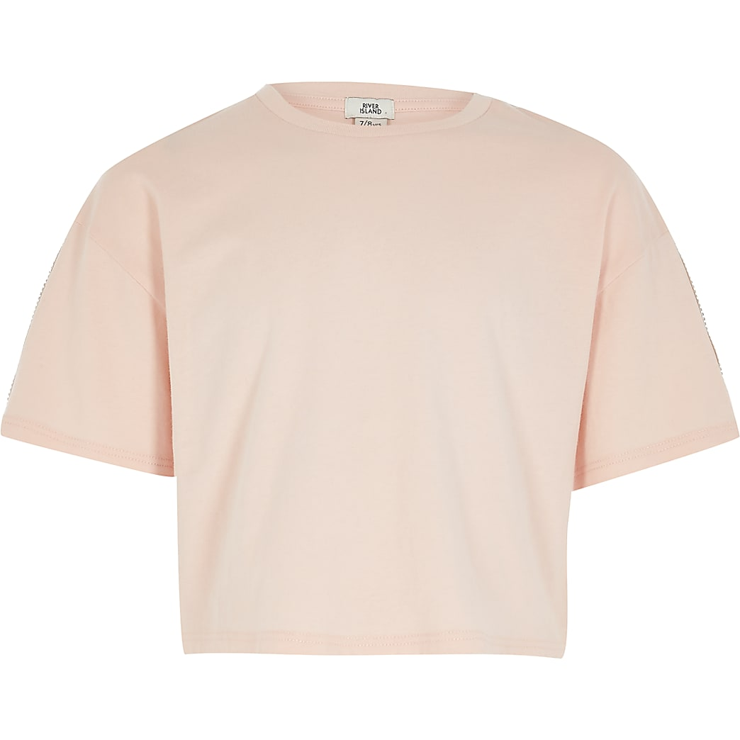 Roze cropped T-shirt met RI-bies en korte mouwen voor meisjes