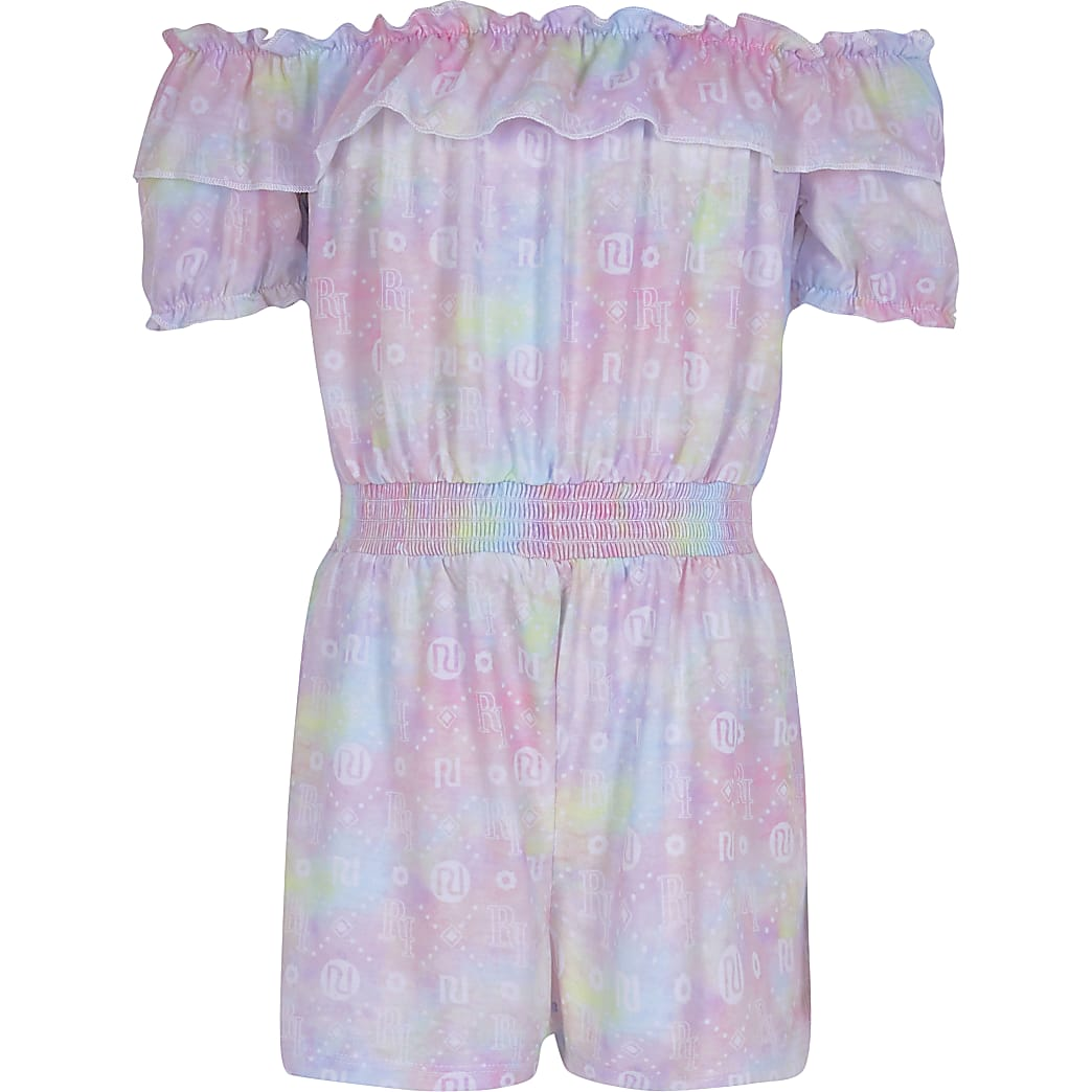 Girls pink RI tie dye bardot playsuit