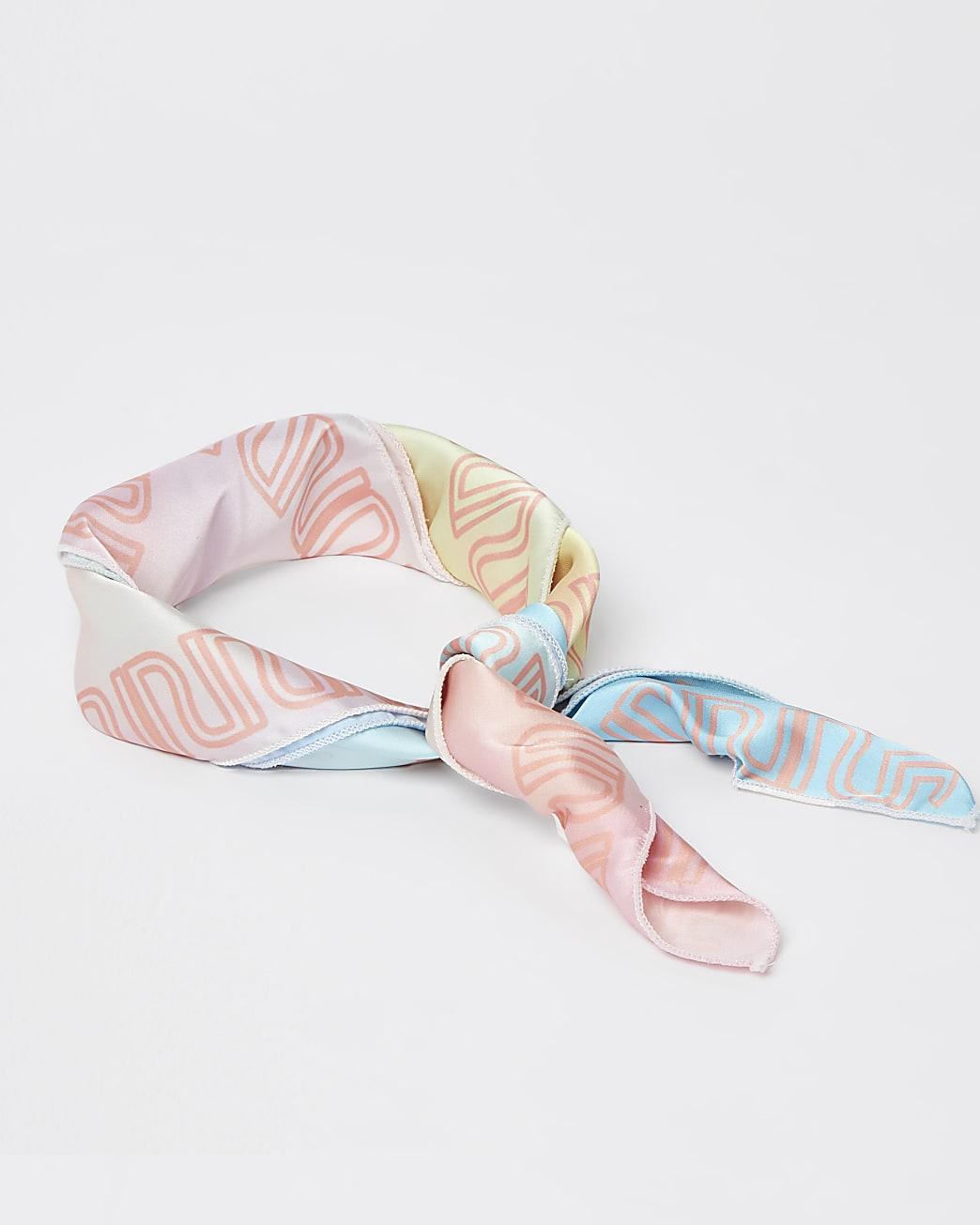 Girls pink RI tie dye head scarf