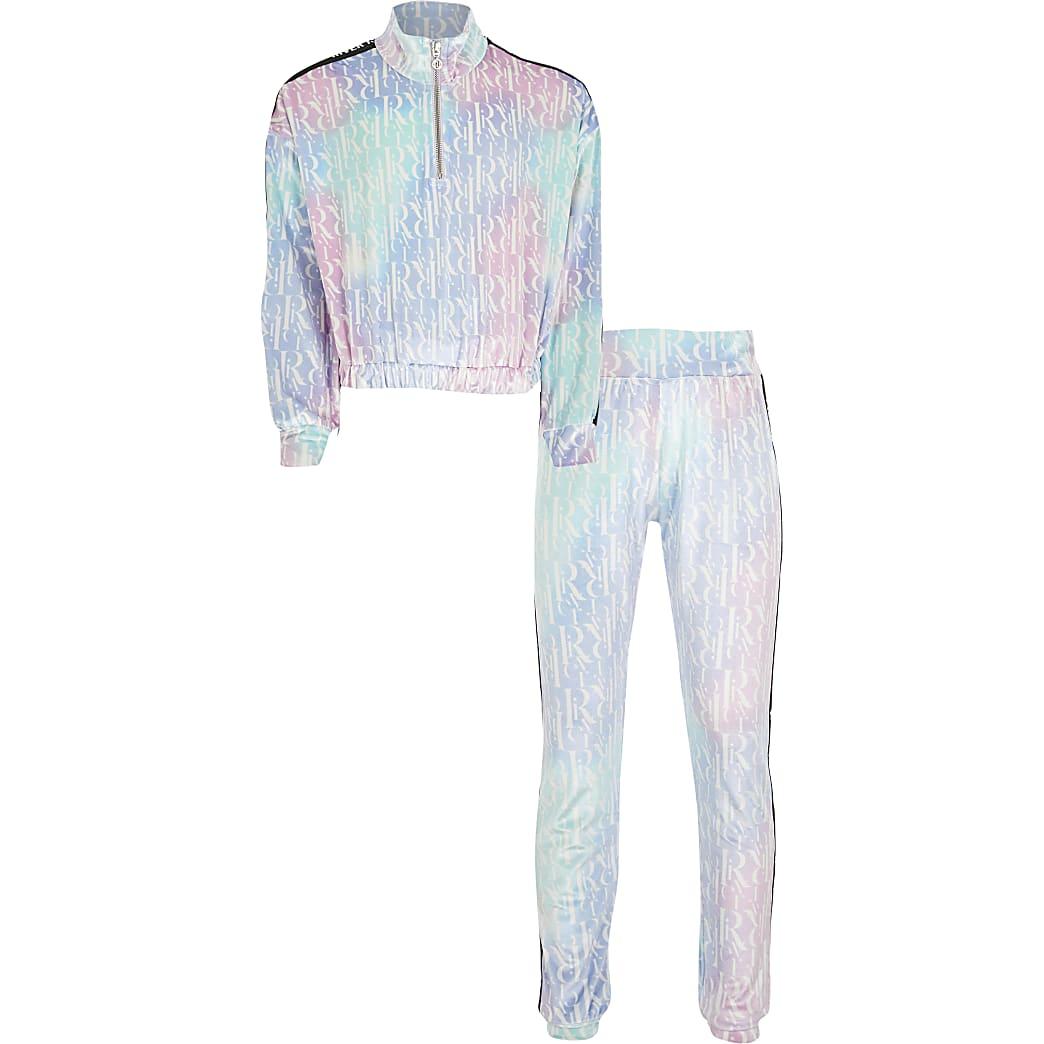 Girls pink RI velour sweatshirt outfit