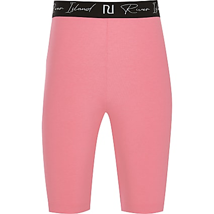 Girls pink RI waistband cycling short