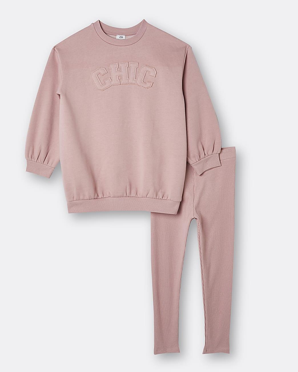 Girls pink rib oversized sweatshirt outfit