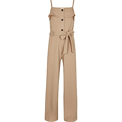 Girls pink ribbed belted jumpsuit