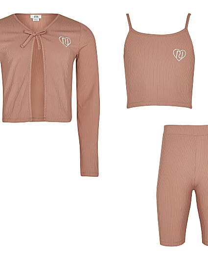 Girls pink ribbed cardigan 3 piece outfit