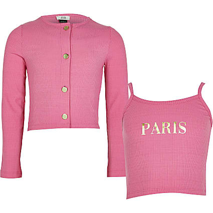 Girls pink ribbed crop top and cardigan set