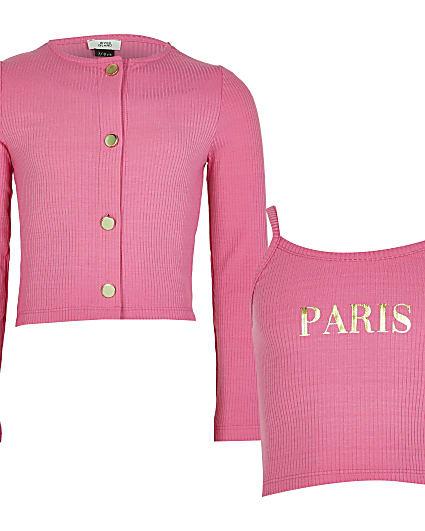 Girls pink ribbed crop top and cardigan set