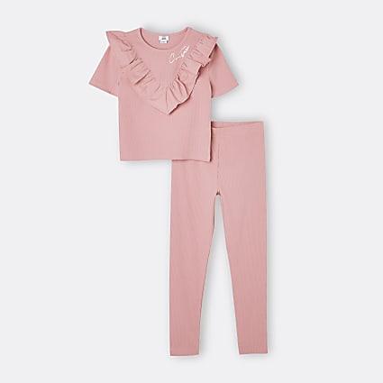 Girls pink ribbed frill legging set