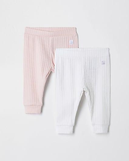 Girls pink ribbed leggings 2 pack