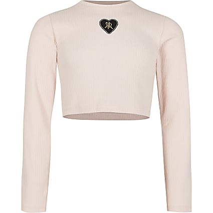 Girls pink ribbed long sleeve crop top