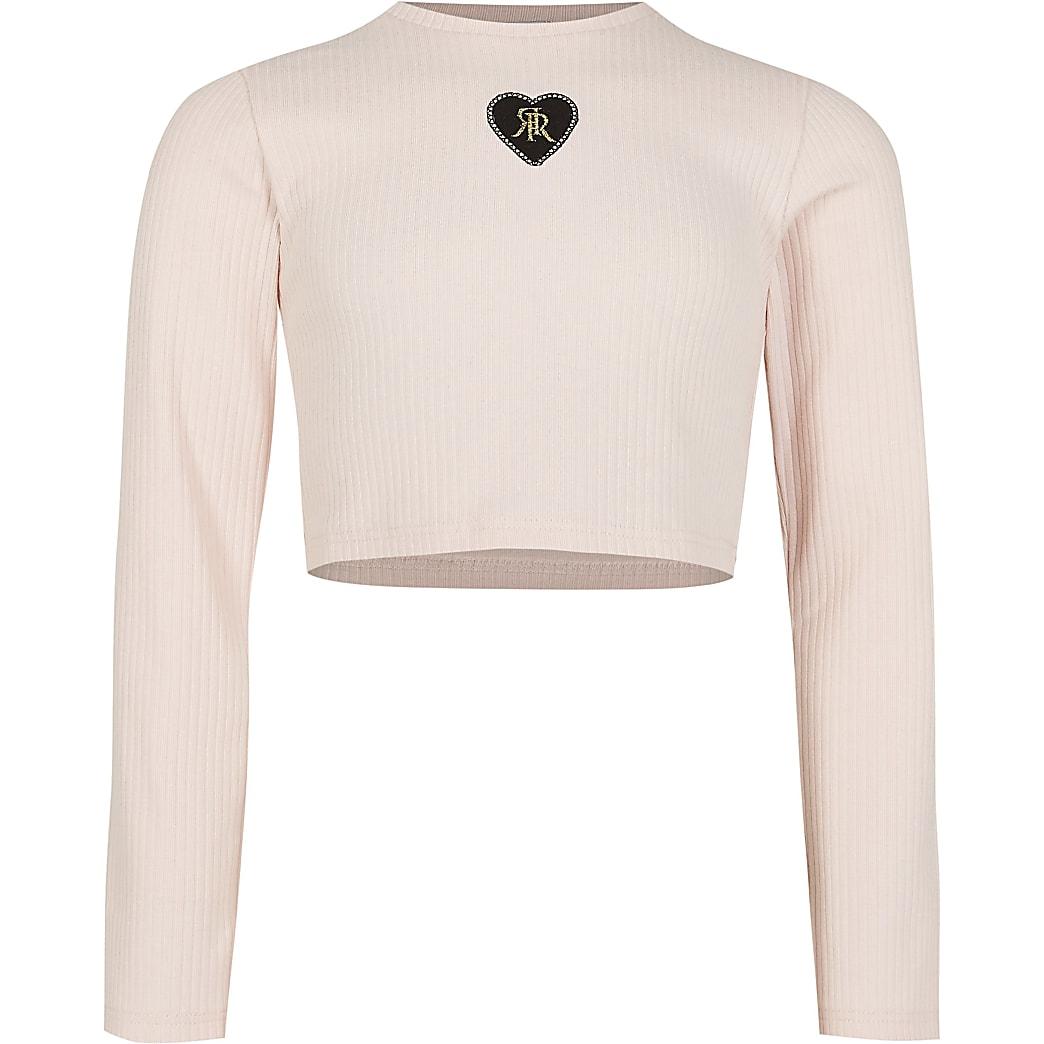 Girls pink ribbed long sleeve crop top