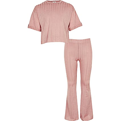 Girls pink ribbed T-shirt outfit