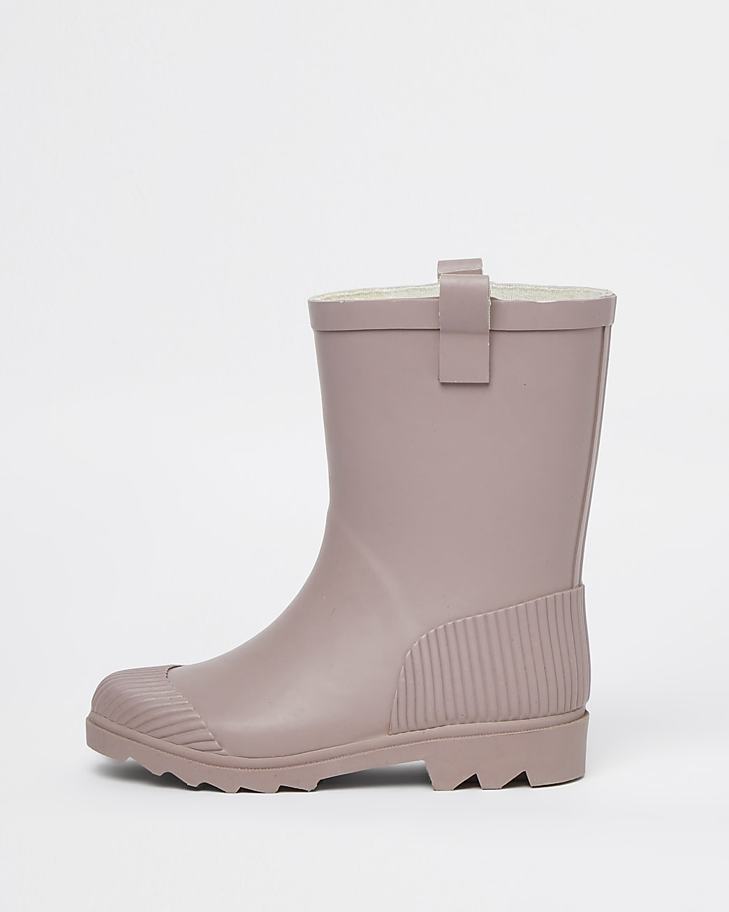 Girls pink ribbed wellie boots