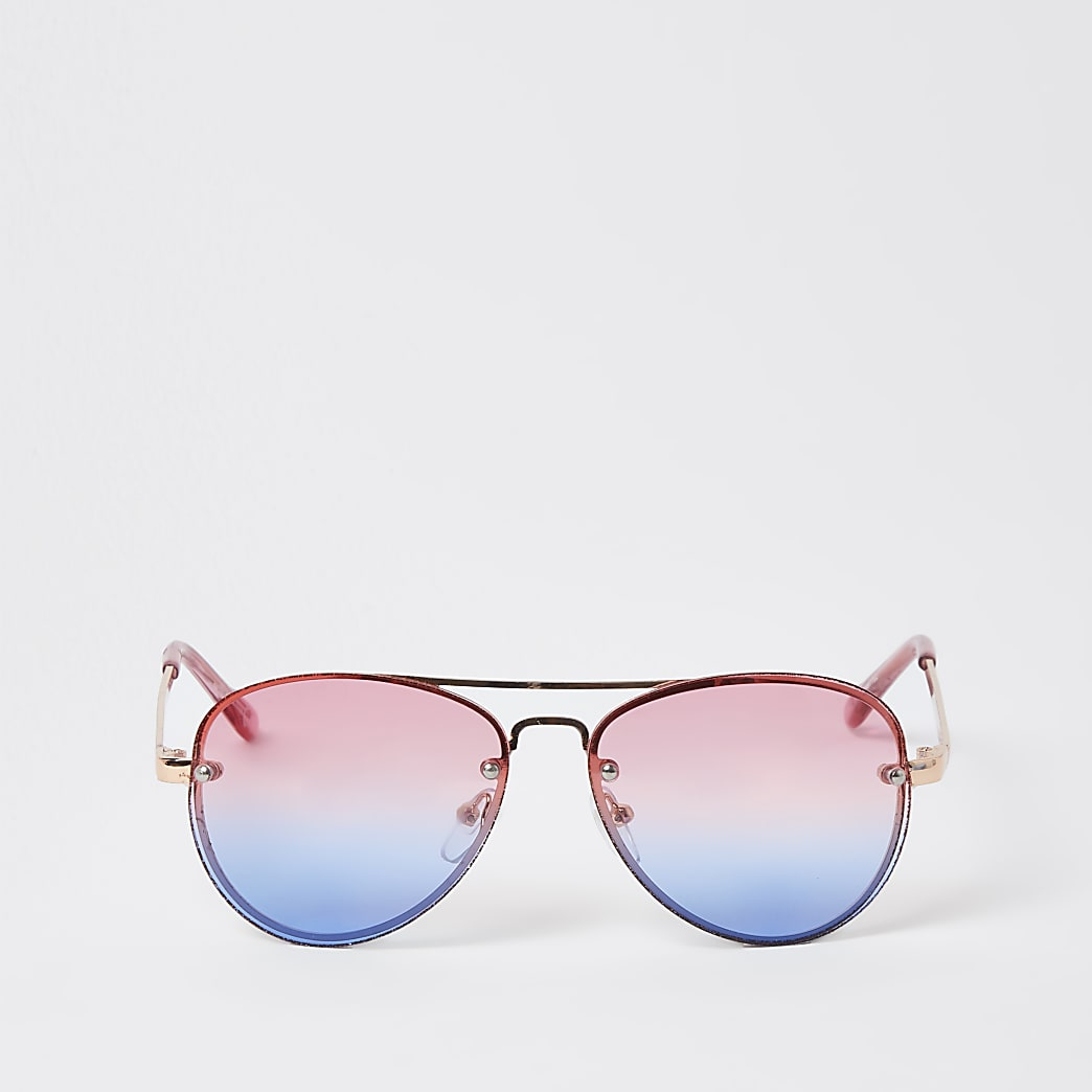 Girls pink rimless aviator sunglasses