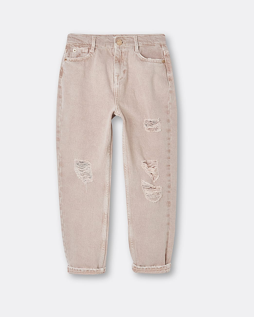 Girls pink ripped mom jeans