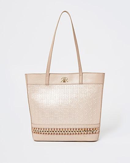 Girls pink RIR embossed chain shopper bag