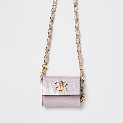 Girls pink RIR embossed cross body