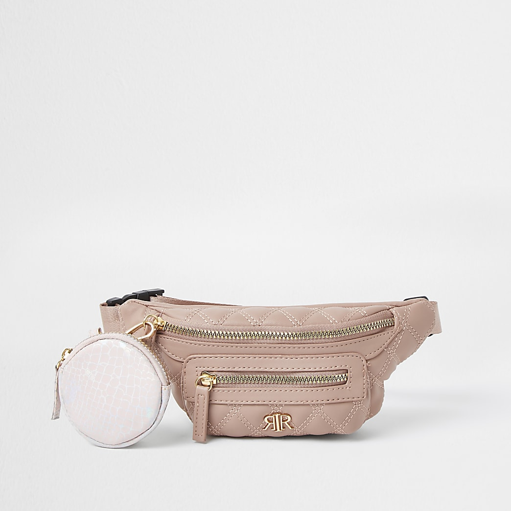 Girls pink RIR quilted bumbag with purse