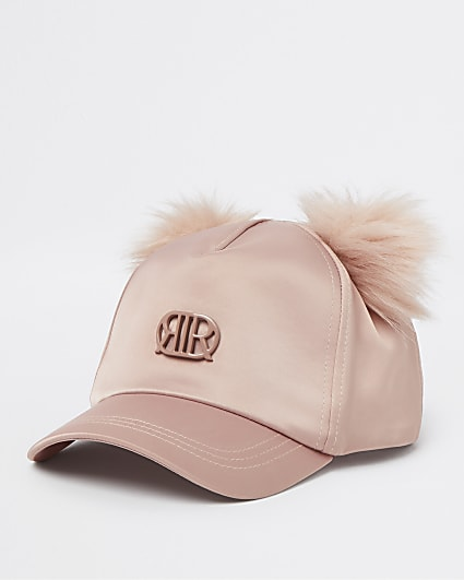 Girls pink RIR satin pom pom cap