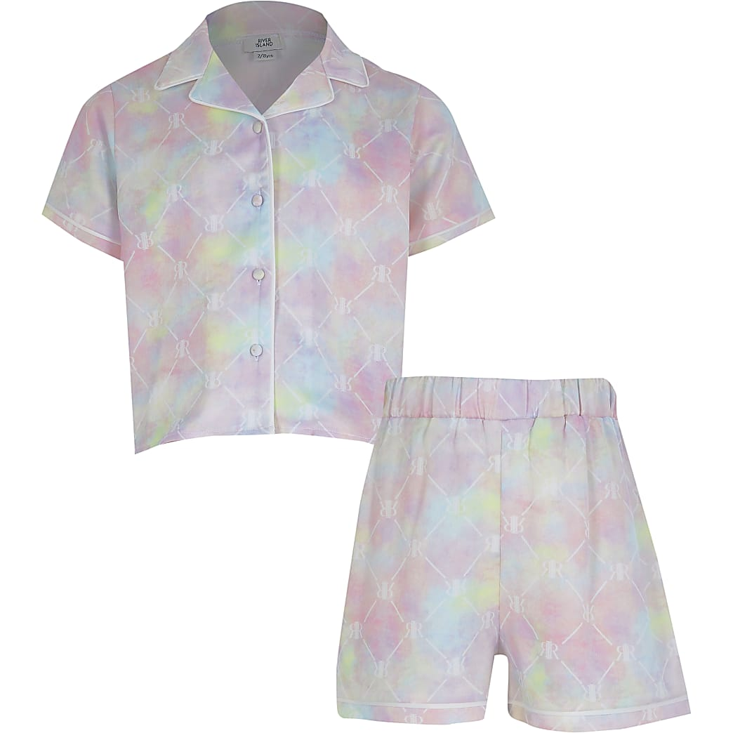 Girls pink RIR tie dye satin pyjama set