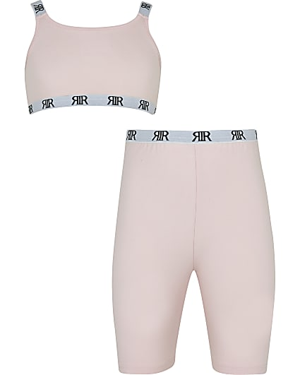 Girls pink RR crop top and cycling shorts set