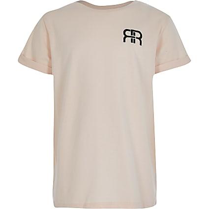 Girls pink RR embossed boyfriend t-shirt
