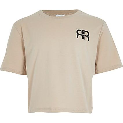 Girls pink RR embossed crop t-shirt