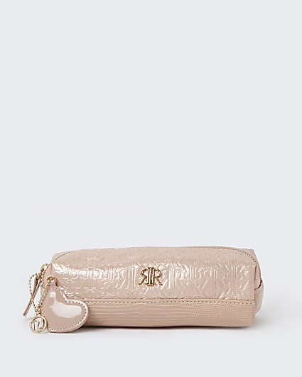 Girls pink RR embossed pencil case