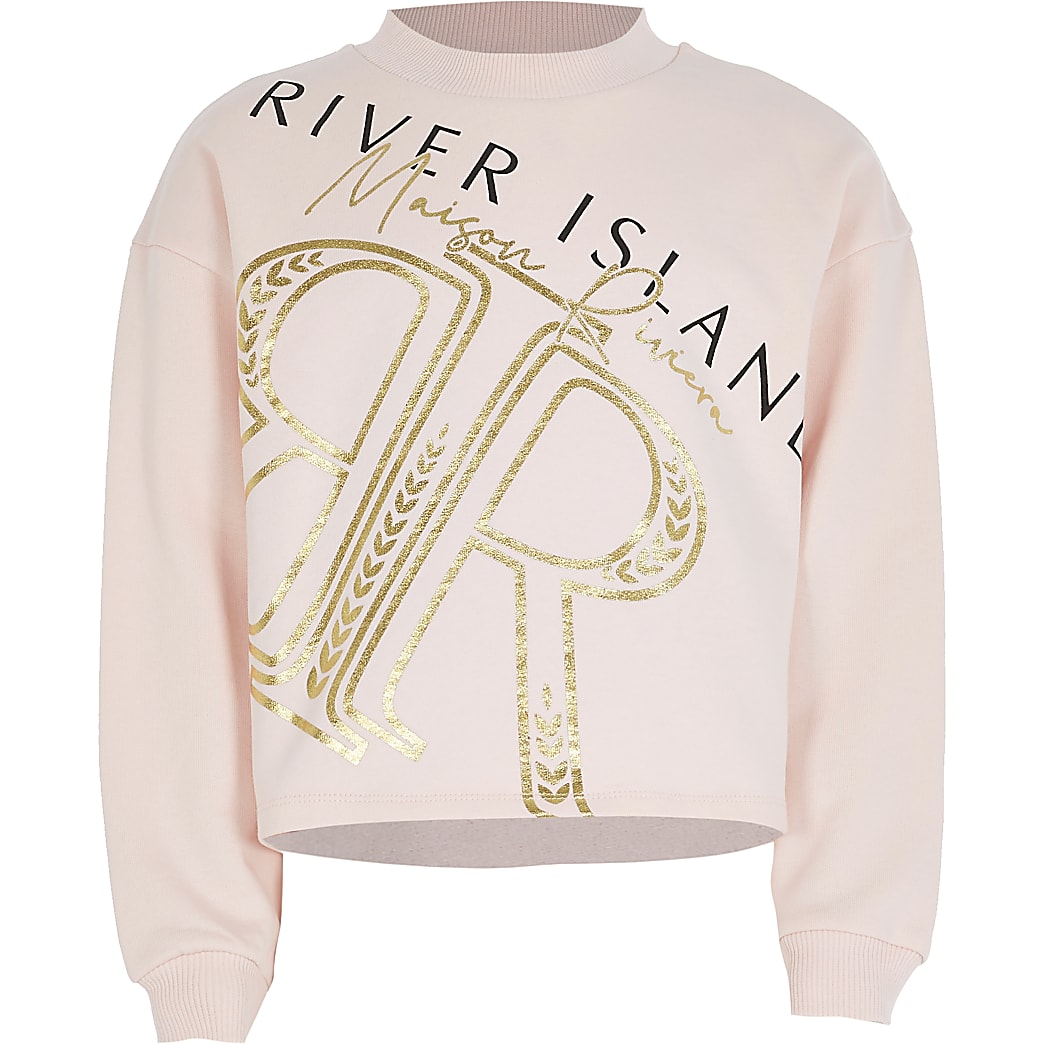 Girls pink 'RR' foil print cropped sweatshirt