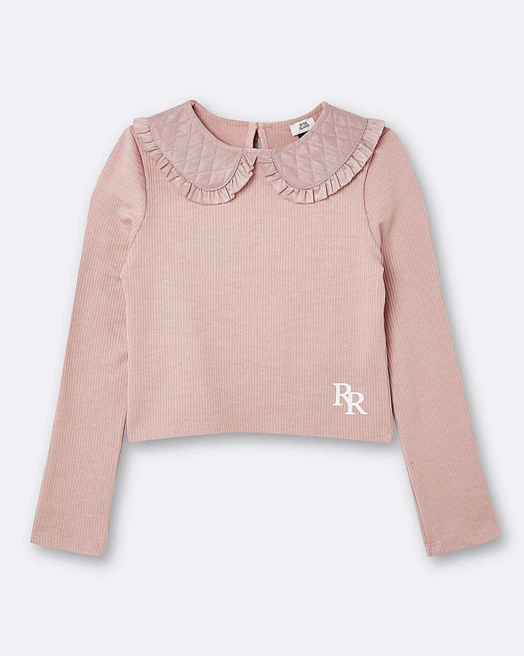 Girls pink RR quilted collar long sleeve top